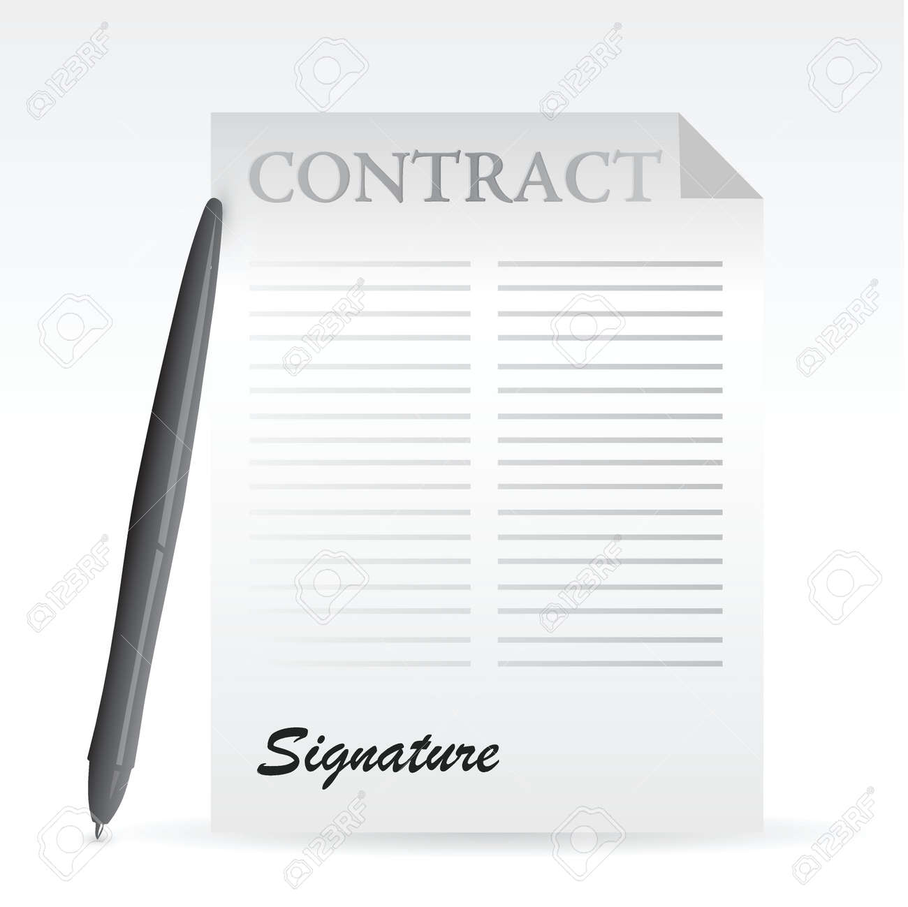 contract and pen. illustration design over a white background Stock Vector - 20208540