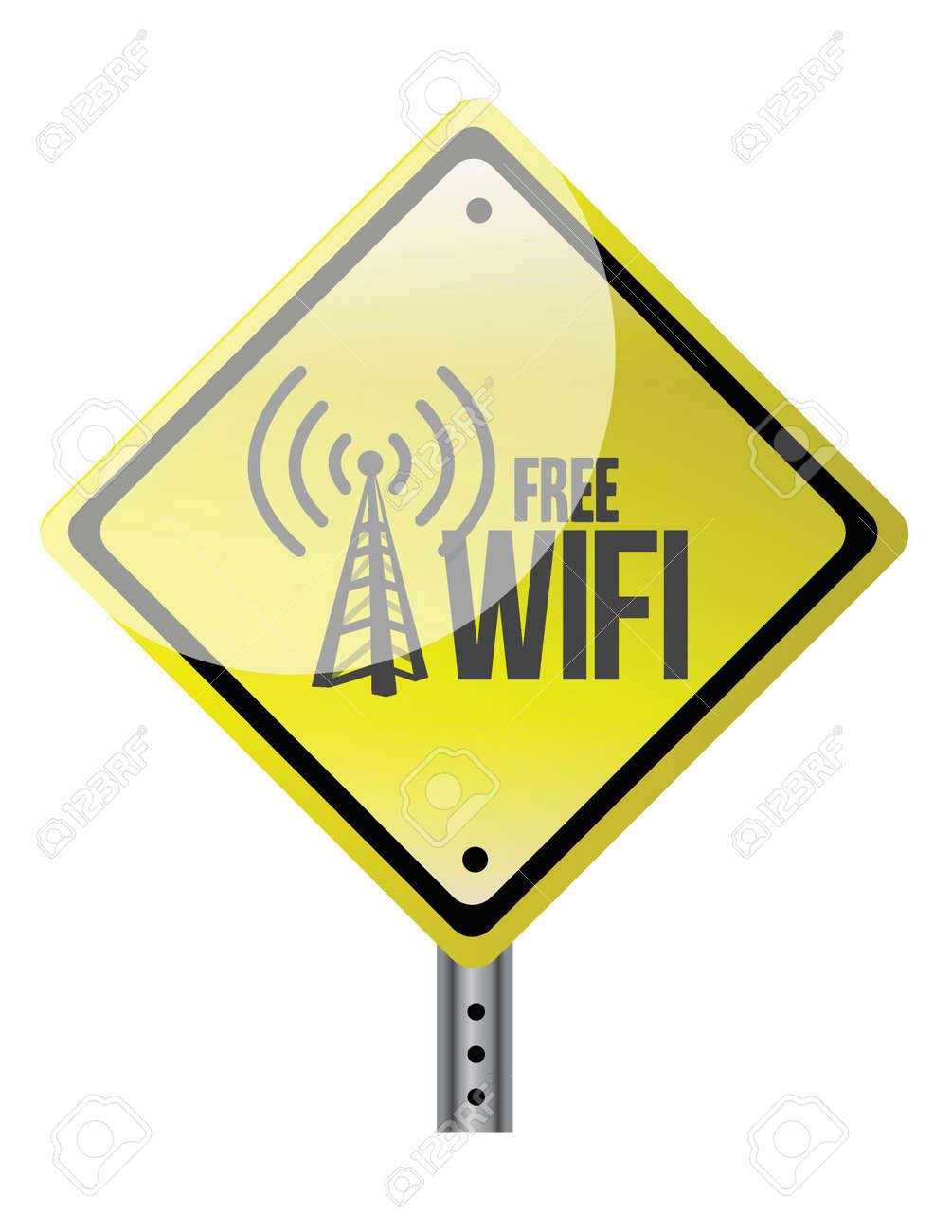 free wifi yellow diamond sign illustration design over white Stock Vector - 20208534