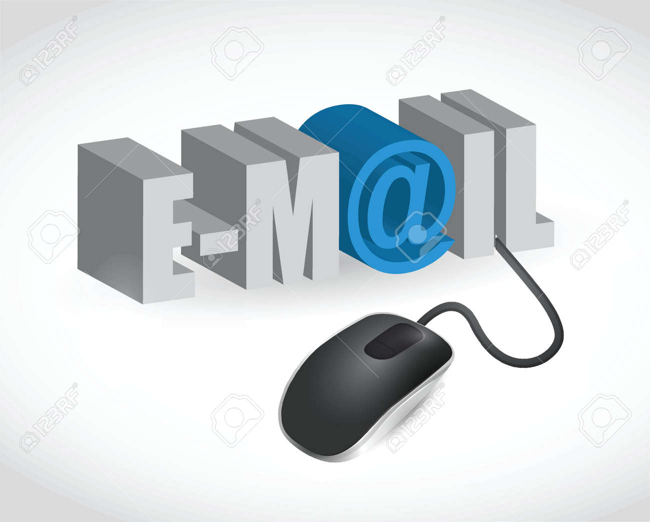 email sign and mouse illustration design over white Stock Vector - 20240654