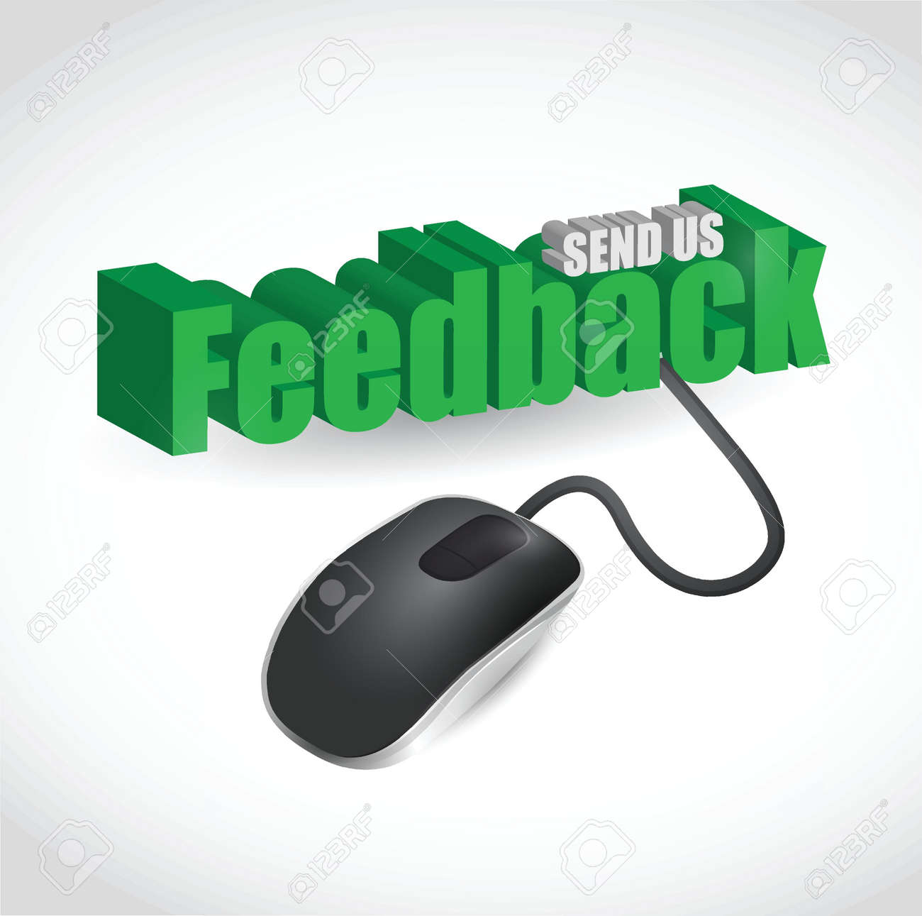 feedback sign and mouse illustration design over white Stock Vector - 20240711