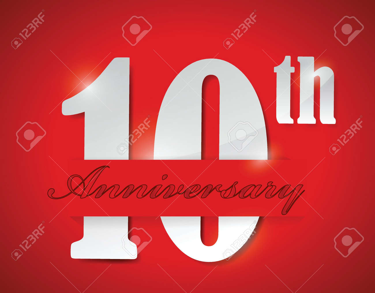 Th anniversary illustration design over a red background royalty