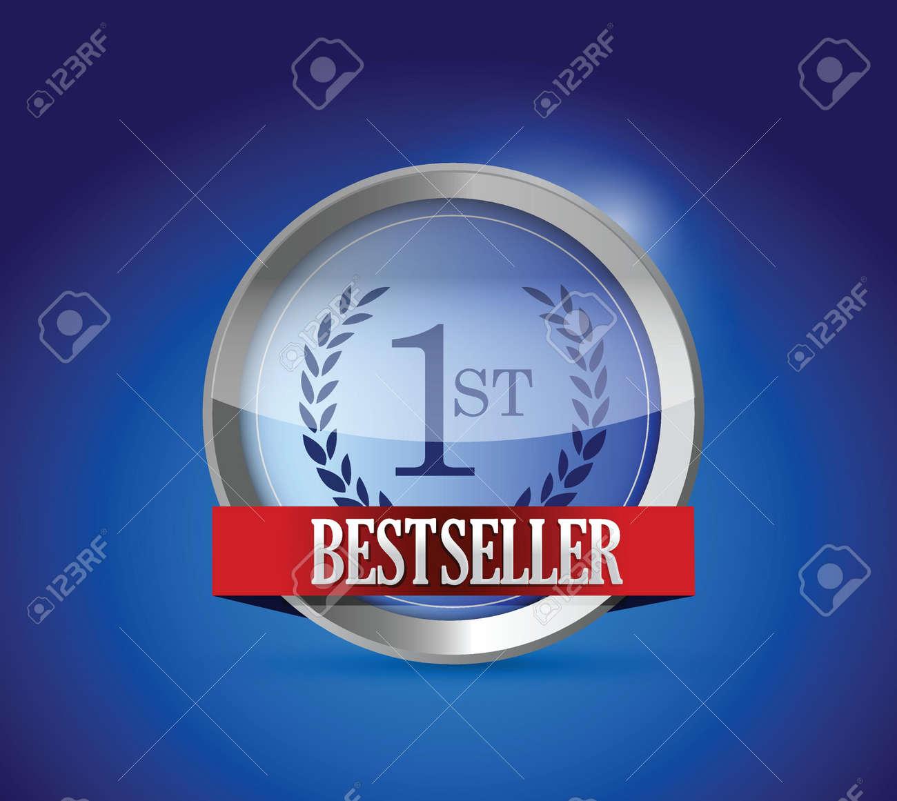 Bestseller button shield illustration design graphic over blue Stock Vector - 20387308