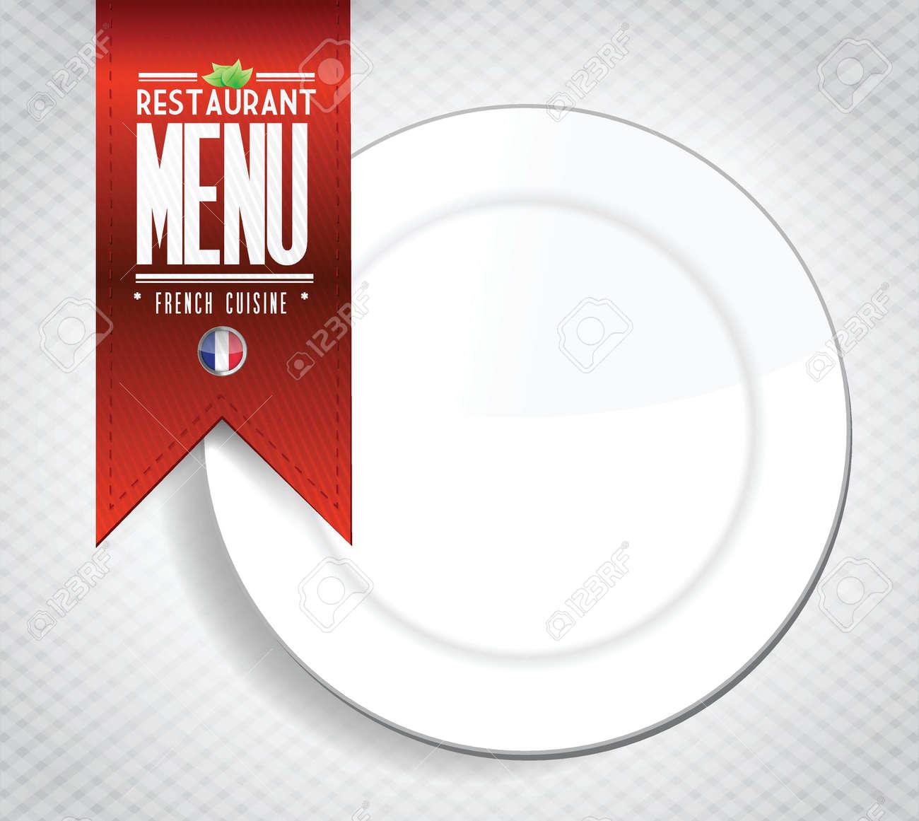 Französisch Restaurant-Menü Textur-Banner-Darstellung Auf Weißem ...