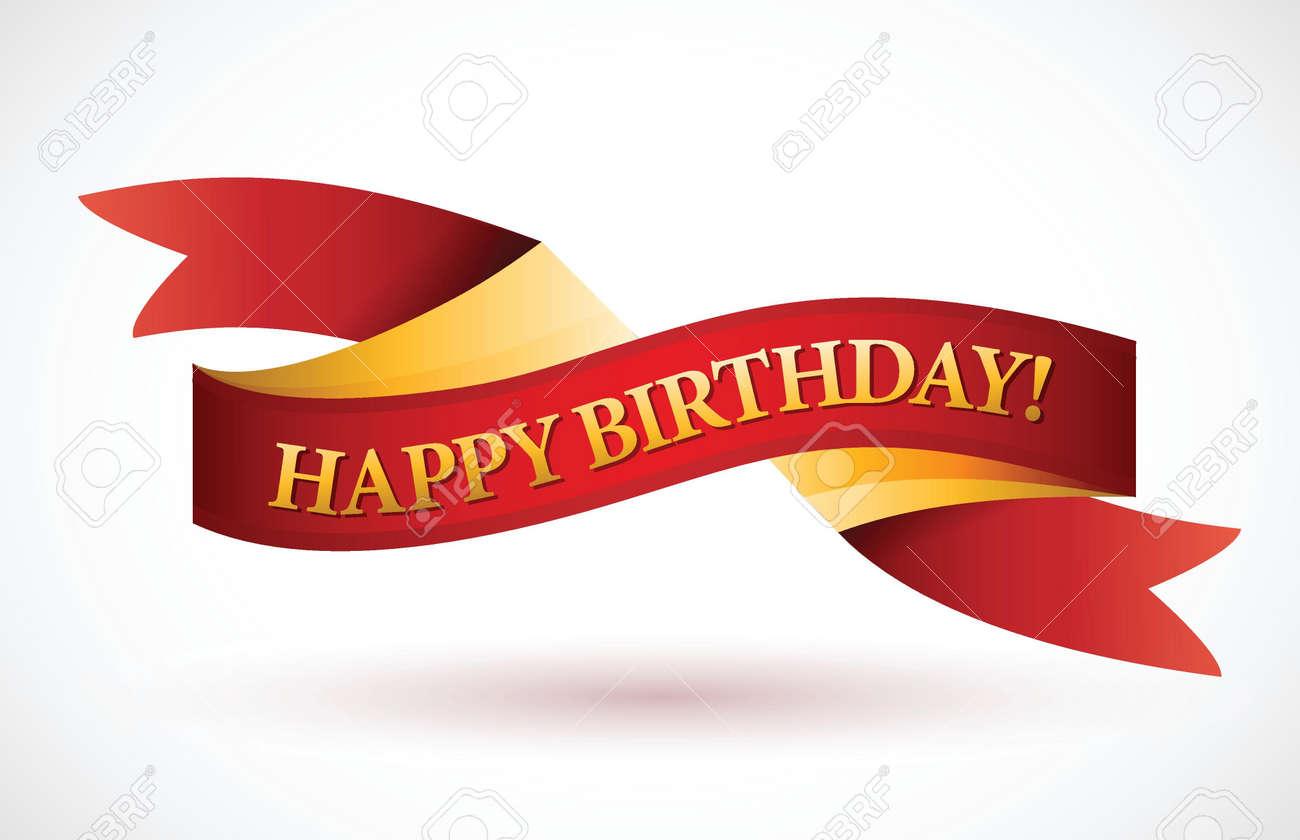 Happy Birthday Design Vector ~ Happy birthday red waving ribbon banner illustration design over