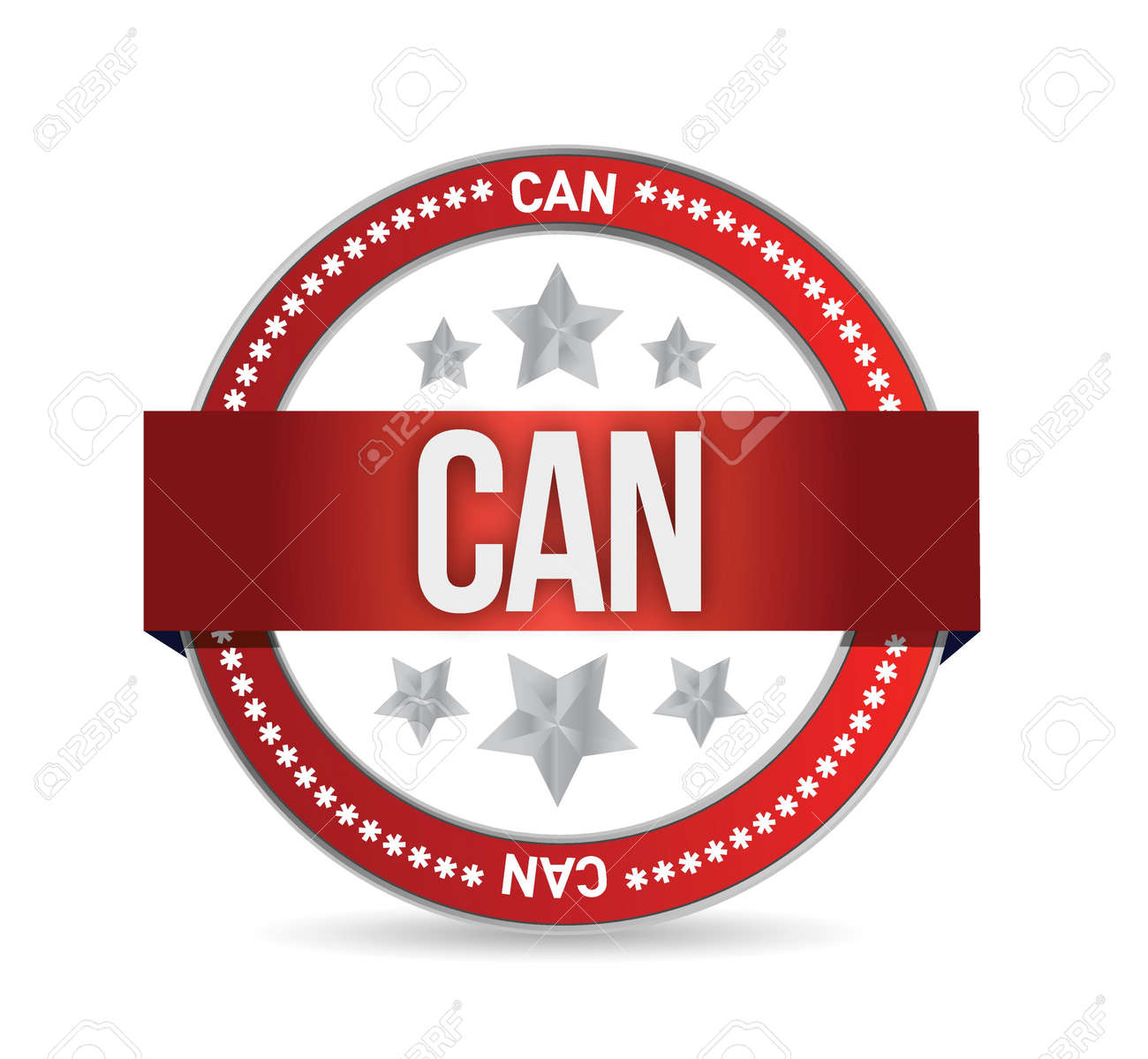 can on red rubber stamp illustration design over white Stock Vector - 20530607