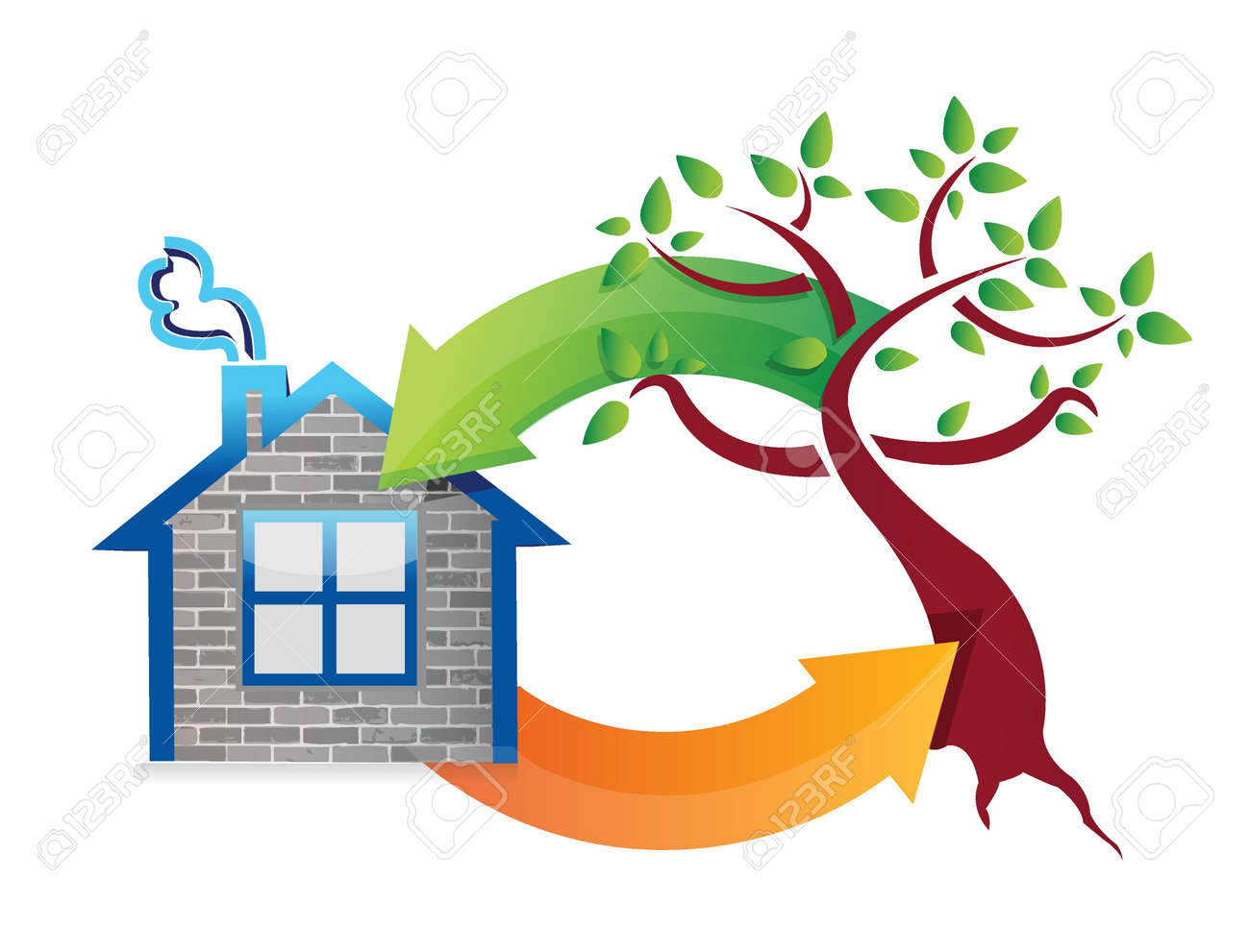 eco concept houses and nature. illustration design over white Stock Vector - 20530587