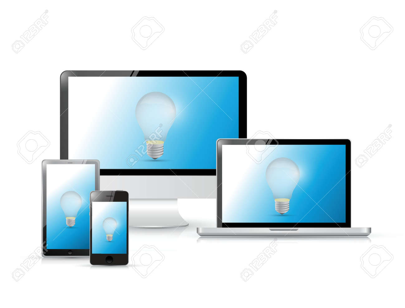 idea icons on a set of electronics illustration design over a white background Stock Vector - 20530595