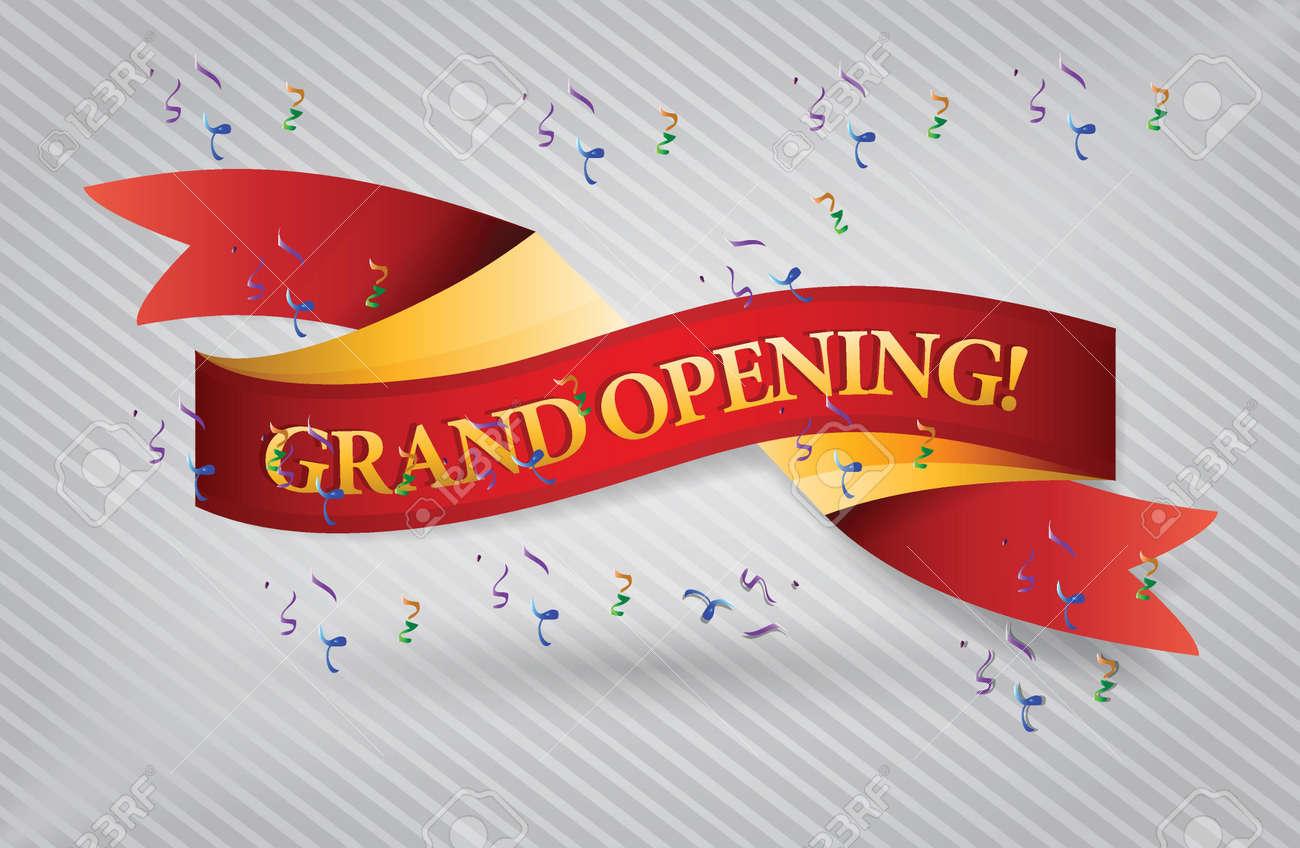 grand opening red waving ribbon banner illustration design over white - 20530678