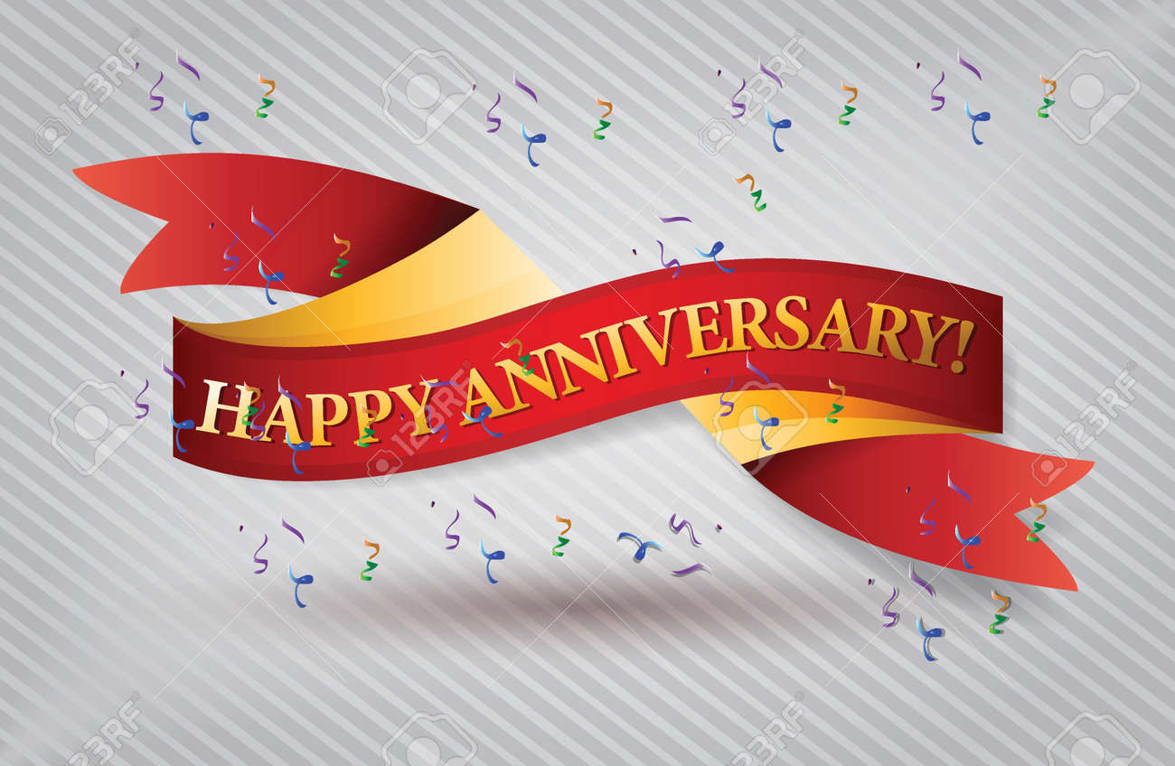 Happy anniversary red waving ribbon banner illustration design