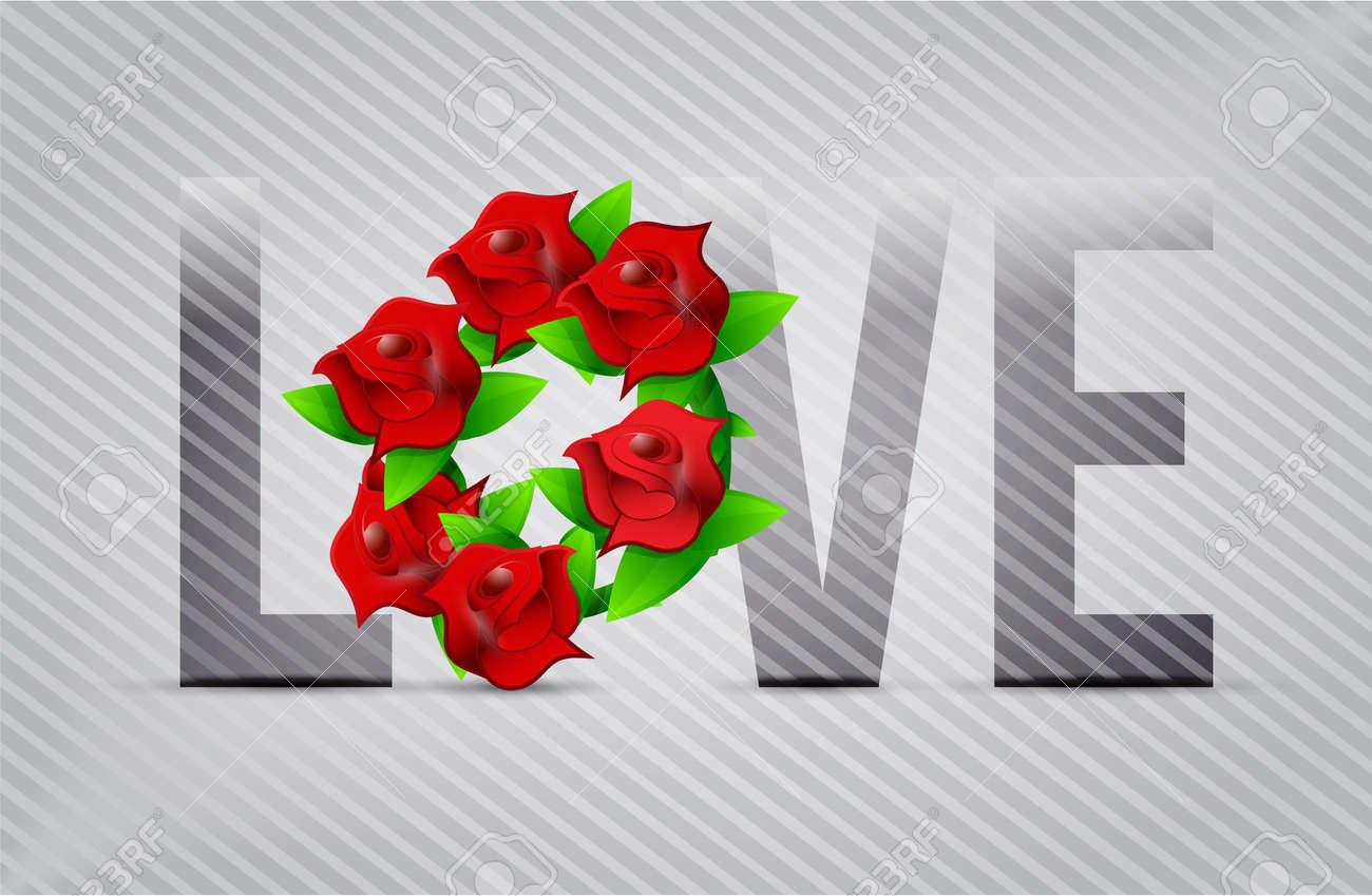 Fleurs D Amour Rouge Illustration Concoit Sur Un Fond Clair Banque D