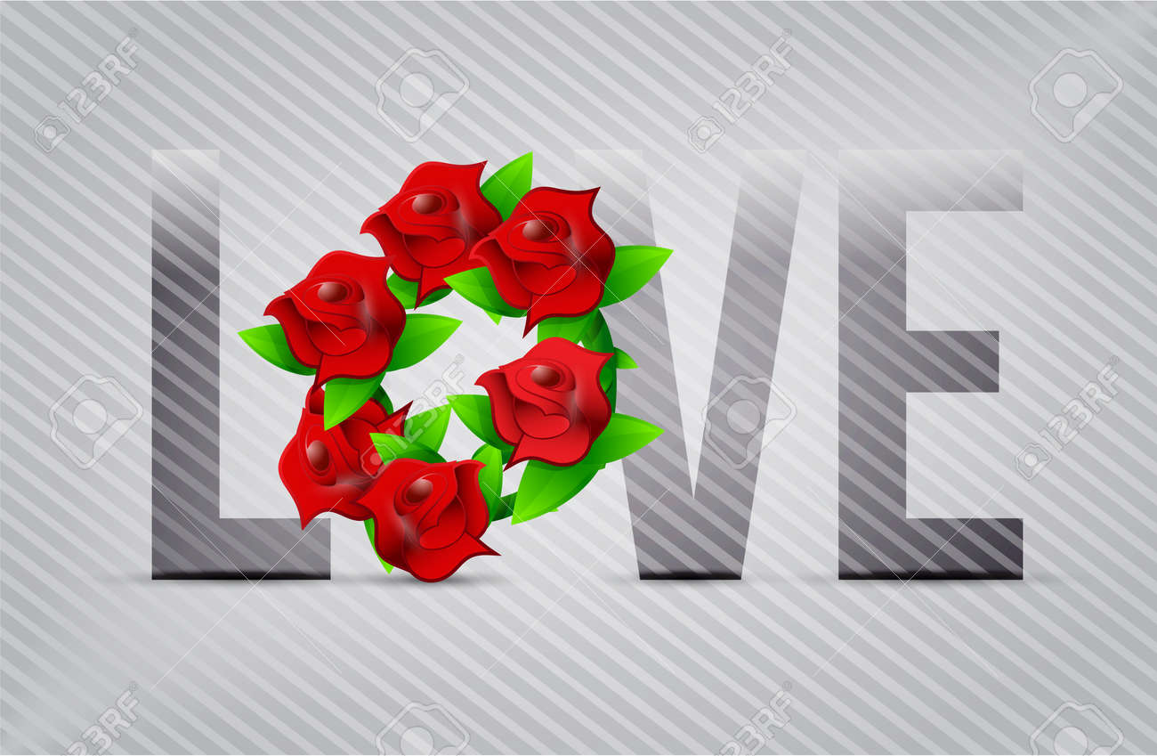 Red Love Flowers Illustration Designs Over A Light Background Stock