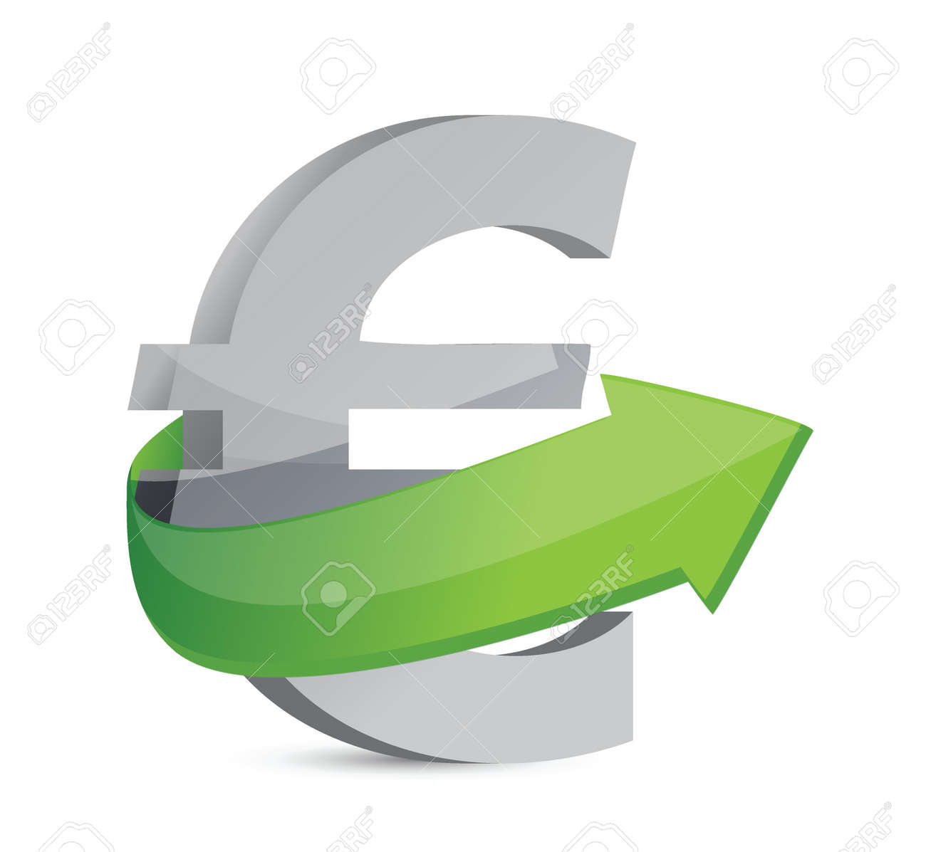euro sign with arrow. Symbolize growth. Illustration design Stock Vector - 20662287