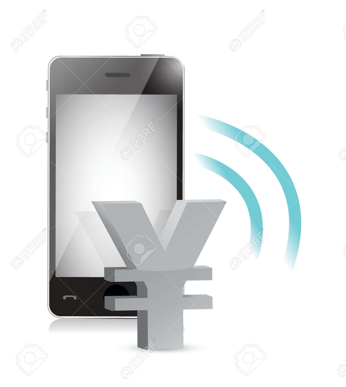 yen currency management on a mobile phone illustration Stock Vector - 20662391
