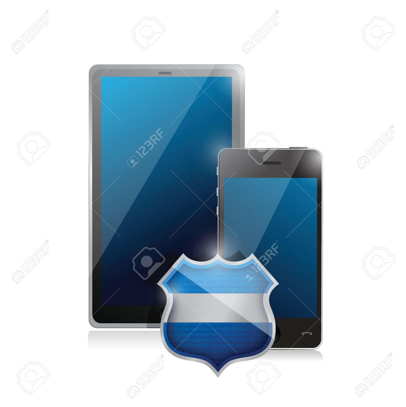 tablet mobile pc and a smartphone protected. illustration design Stock Vector - 20760585