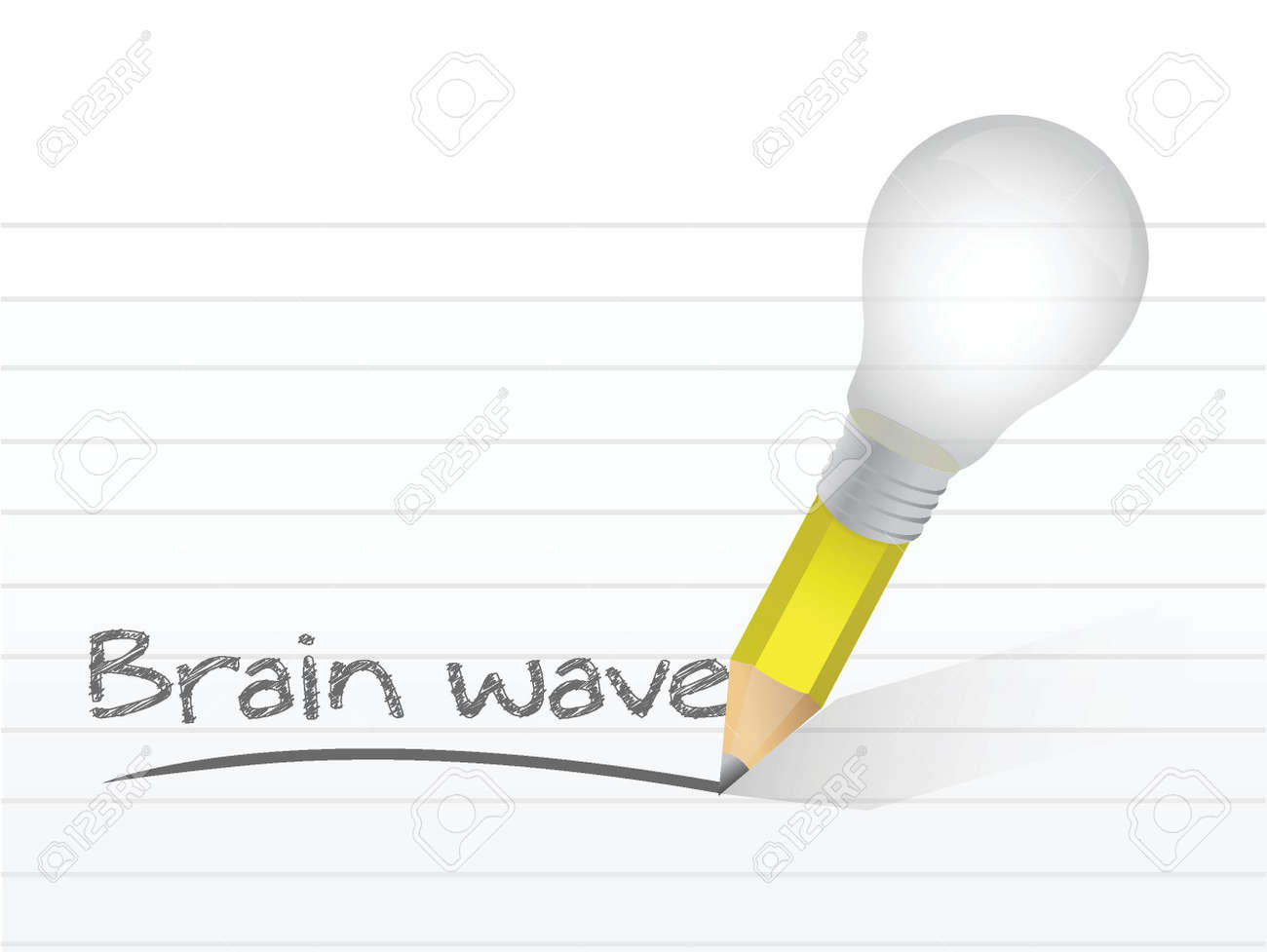 brain wave written with a light bulb idea pencil illustration design over notepad paper Stock Vector - 20760549