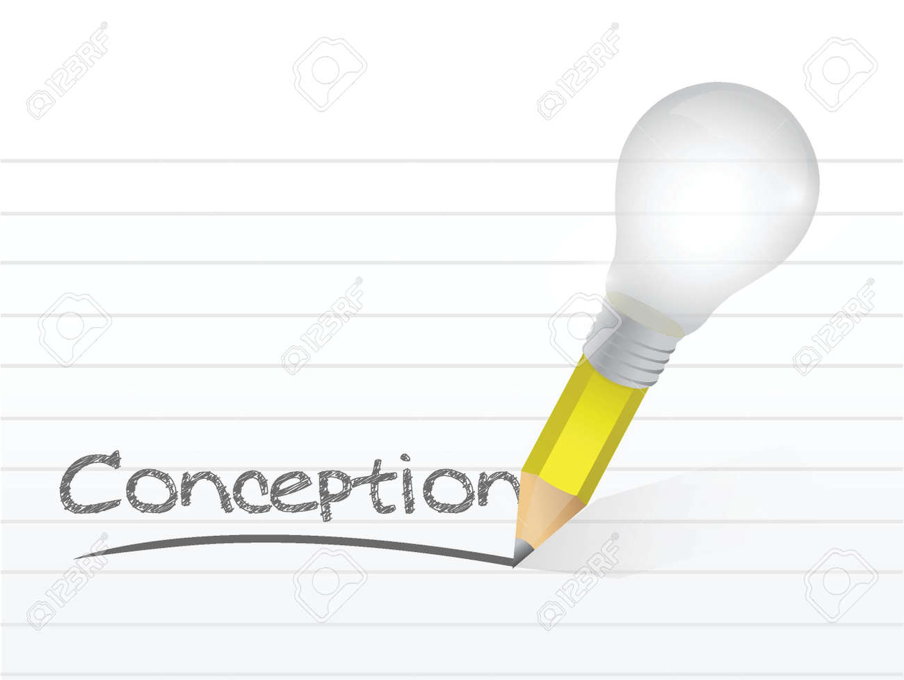conception written with a light bulb idea pencil illustration design over notepad paper Stock Vector - 20760551