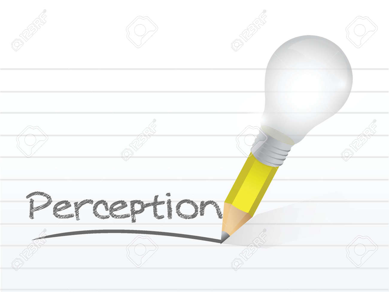 perception written with a light bulb idea pencil illustration design over notepad paper Stock Vector - 20760524