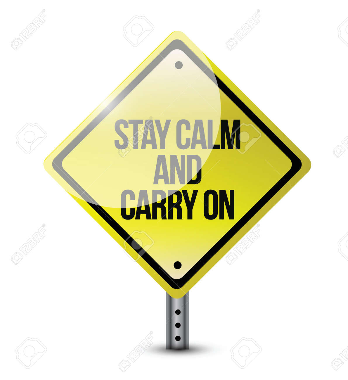 stay calm carry on road sign illustration design over white Stock Vector - 21314123