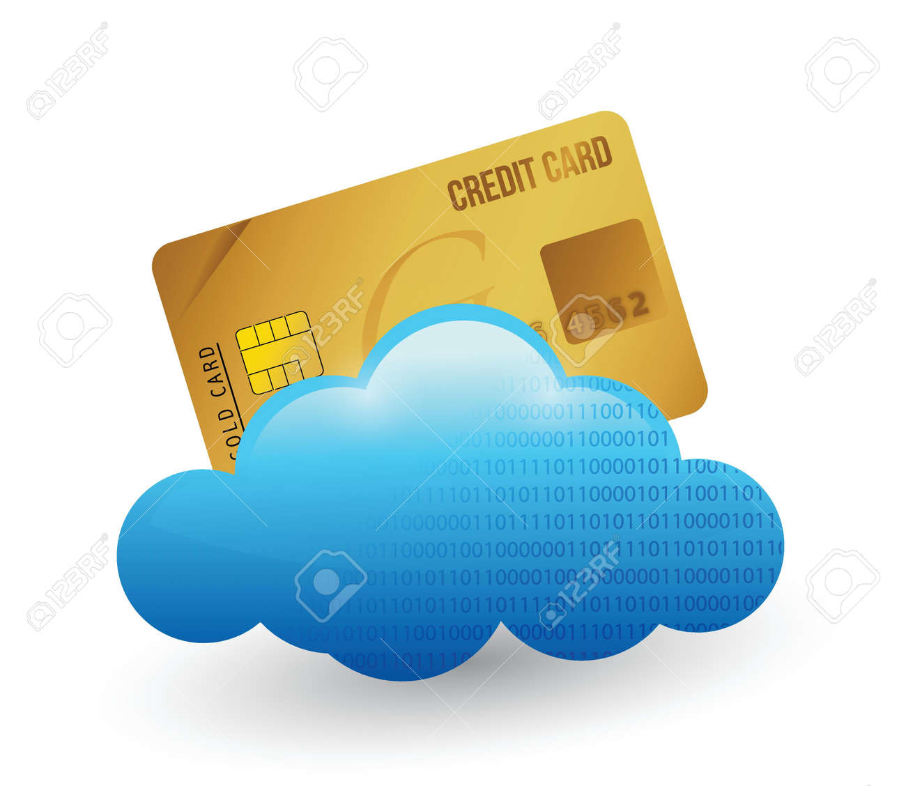 credit card and cloud. illustration design over white Stock Vector - 21371750