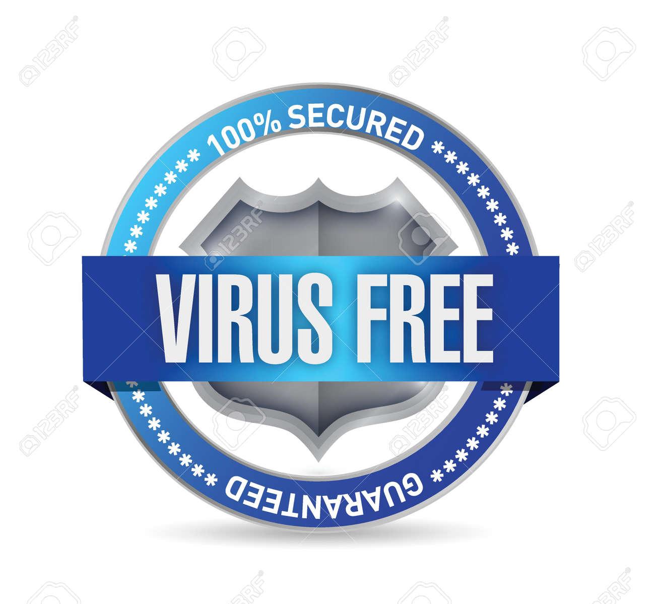 virus free seal or shield illustration design over white Stock Vector - 21371827