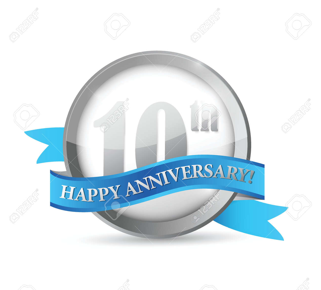 10th anniversary seal and ribbon illustration design over white Stock Vector - 21506202