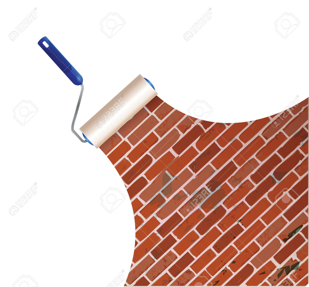 Painting A Brick Wall Illustration Design Over A White Background