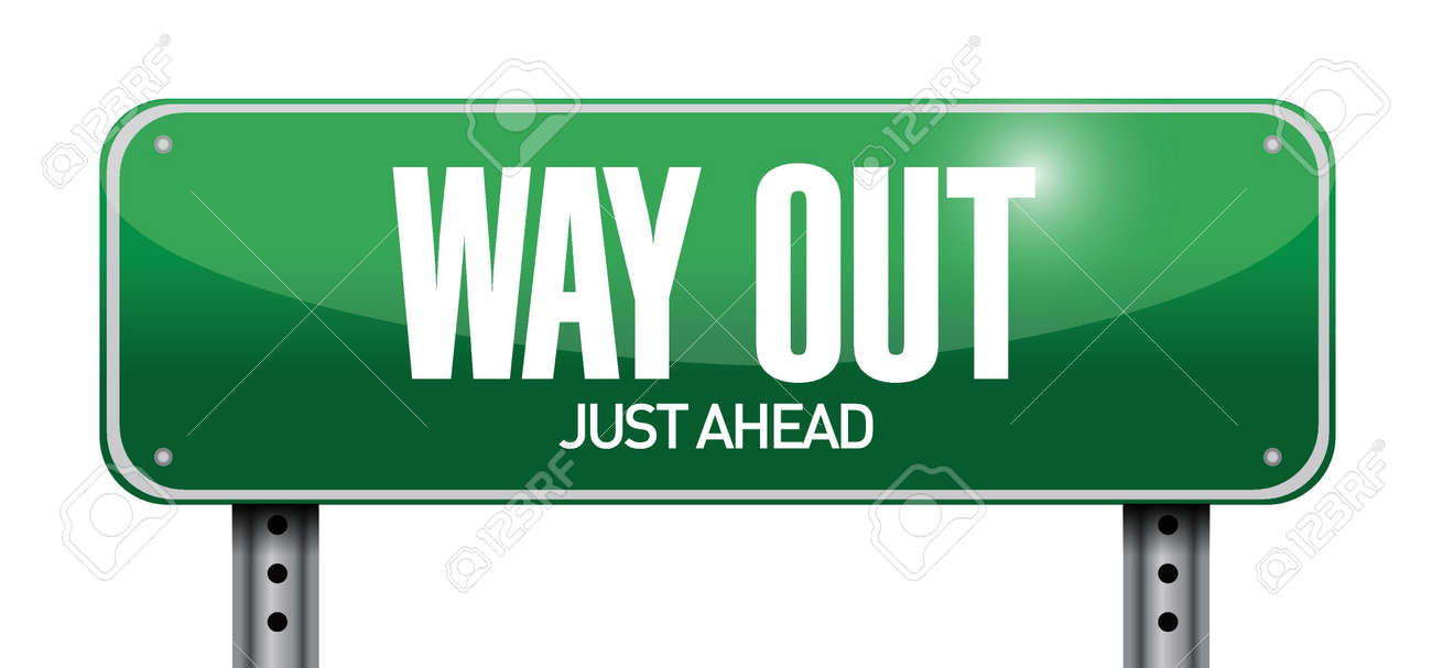 way out road sign illustration design over a white background Stock Vector - 21970050