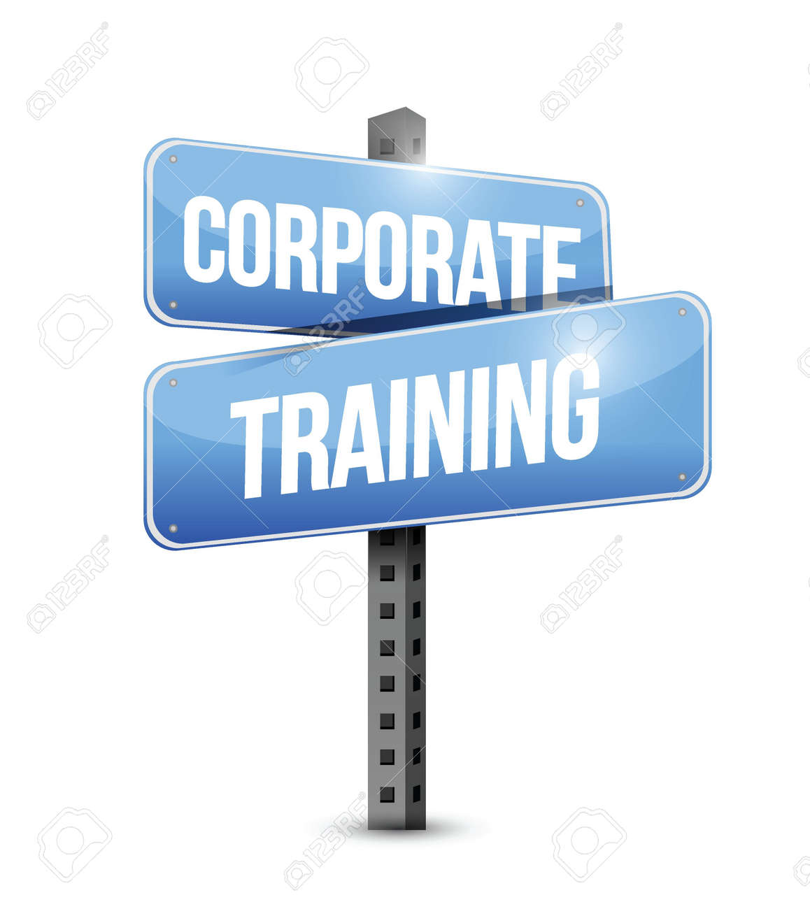 corporate training road sign illustration design over a white background Stock Vector - 22023867