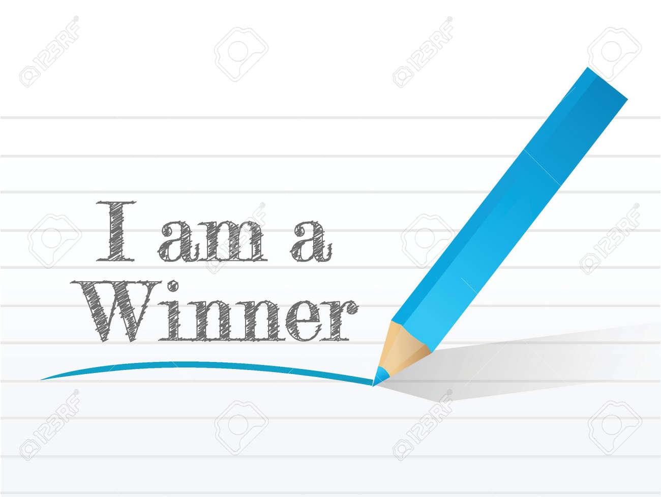 i am a winner message written on a white notepaper Stock Vector - 22035840