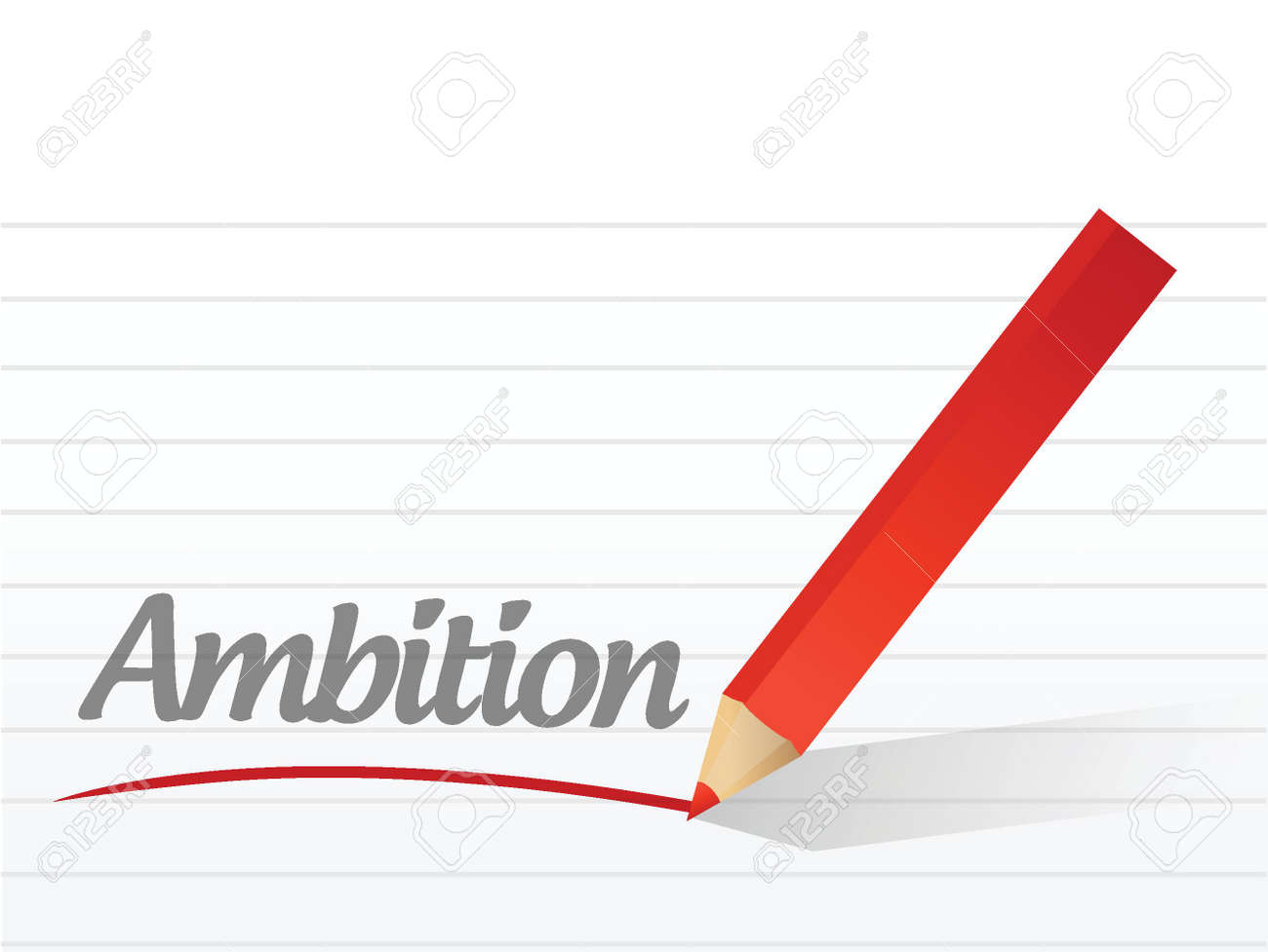 ambition written on a white piece of paper. illustration design Stock Vector - 22250971