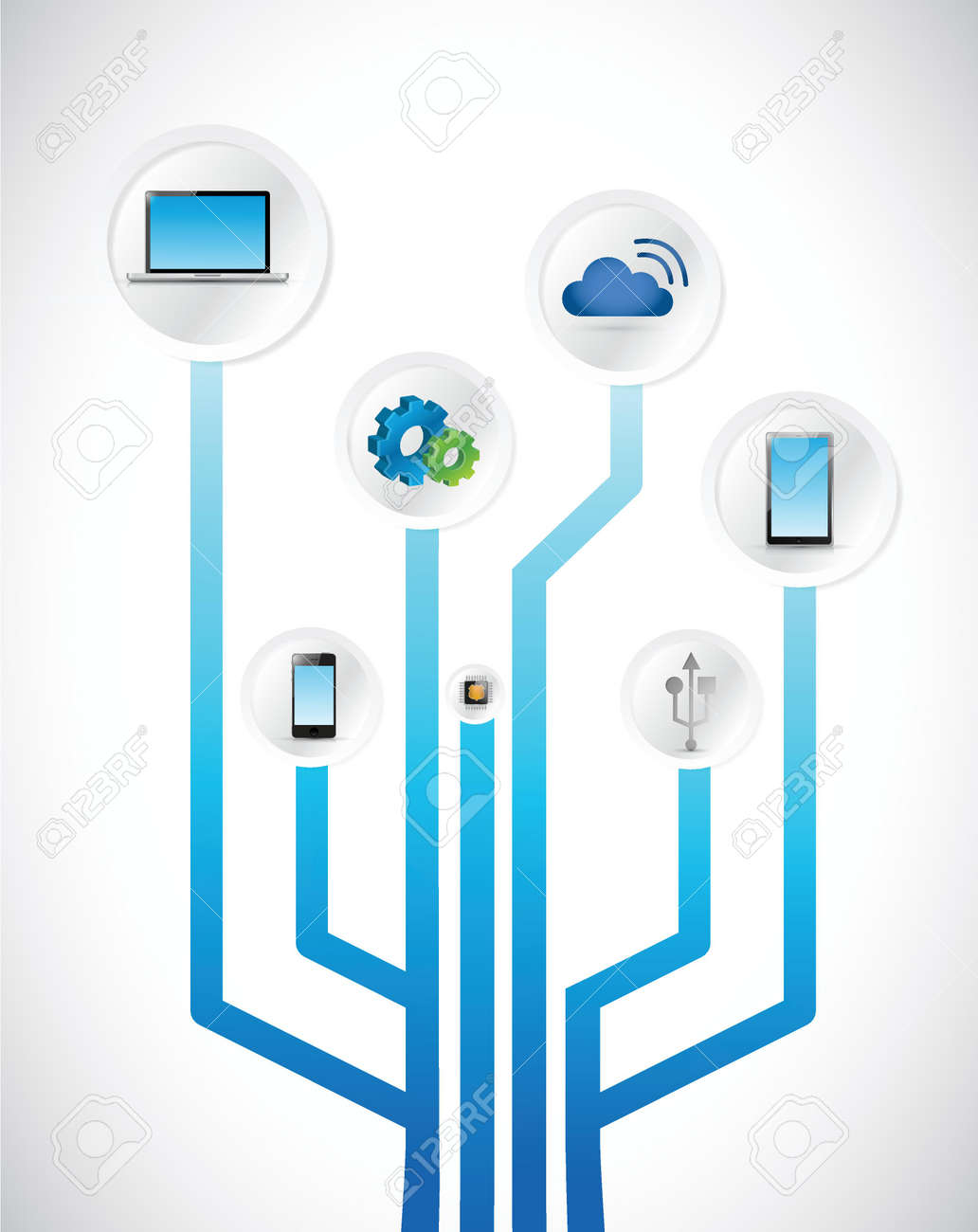 Technology Concept Circuit Diagram Illustration Design Over White ...