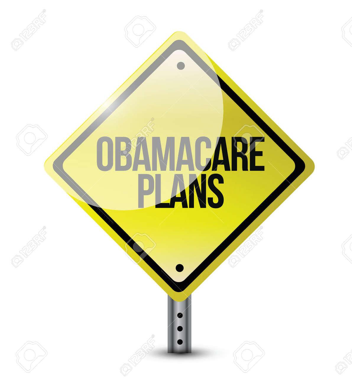 obamacare plans road sign illustration design over white Stock Vector - 23057677
