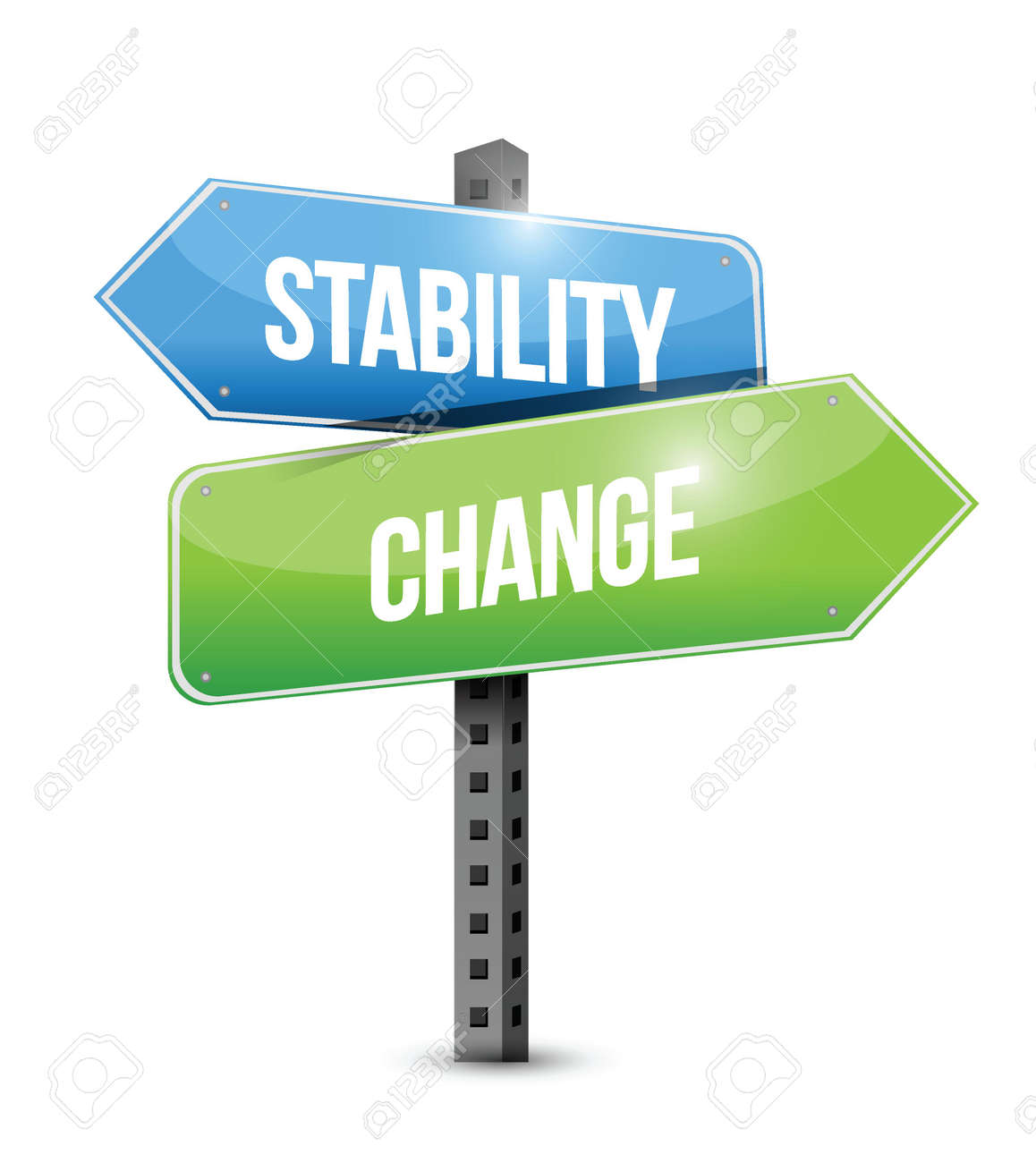 stability and change road sign illustration design over a white background - 23057828