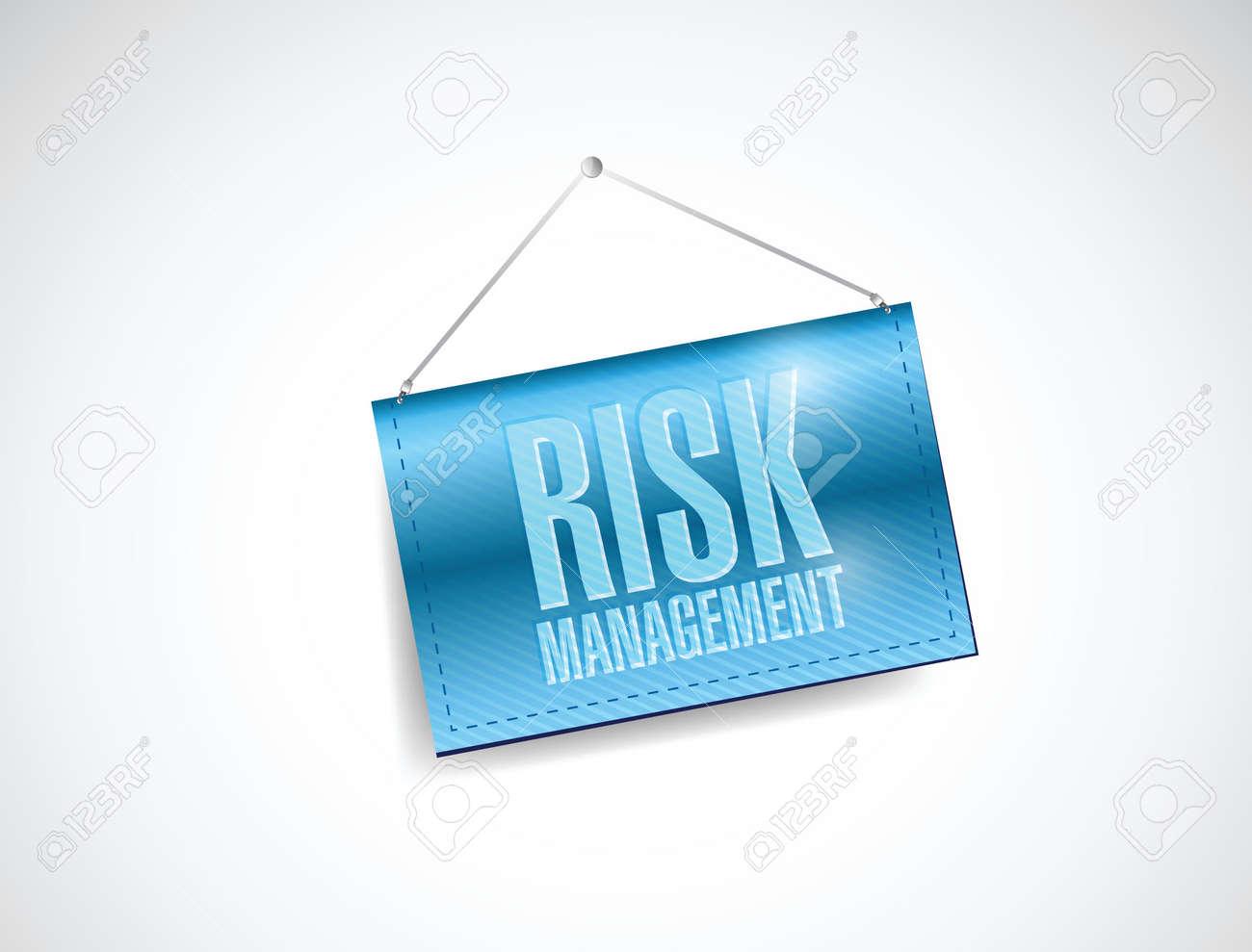 risk management blue business hanging banner illustration design over a white background Stock Vector - 23057905