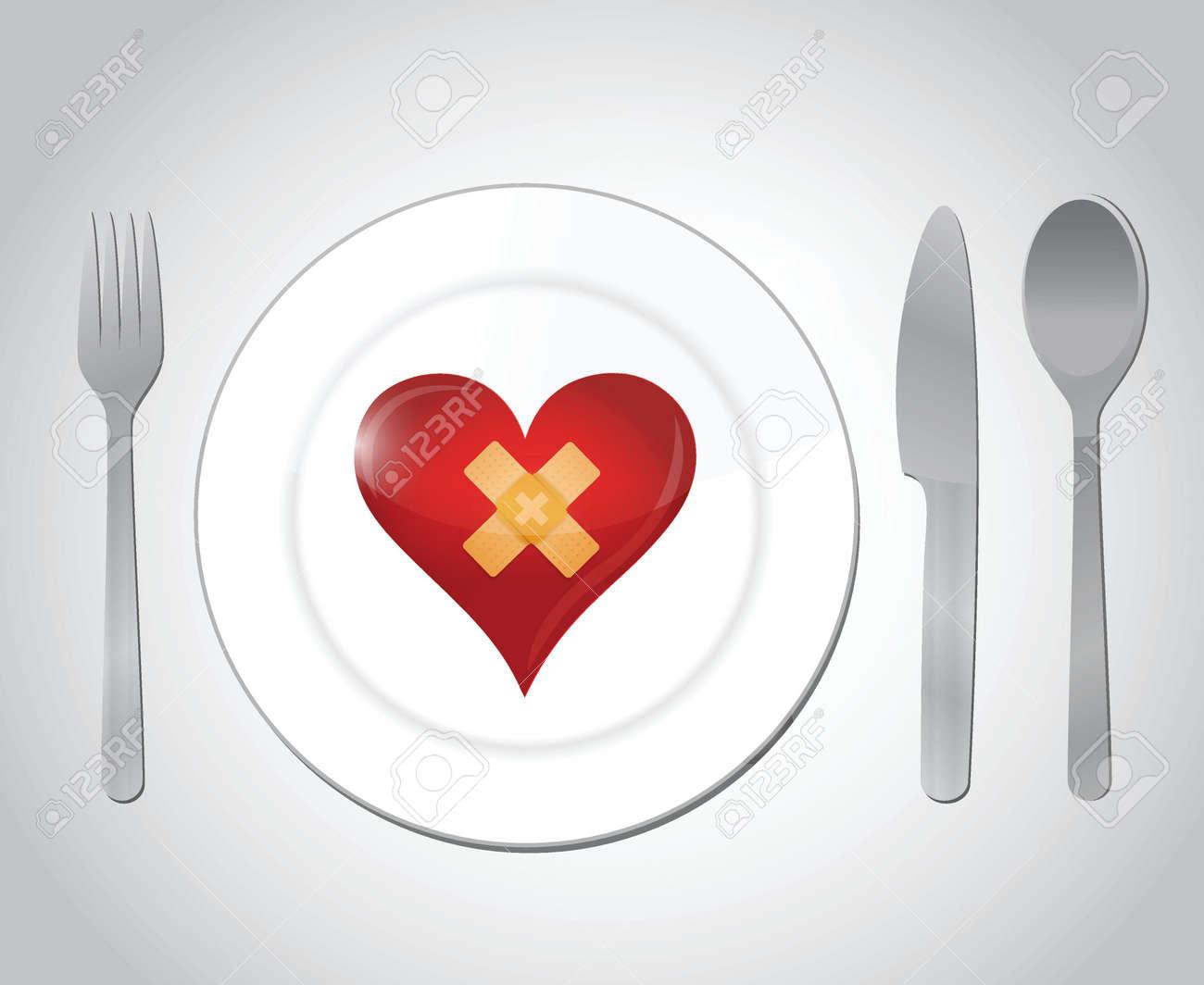 food for a broken heart concept illustration design over white Stock Vector - 23964353