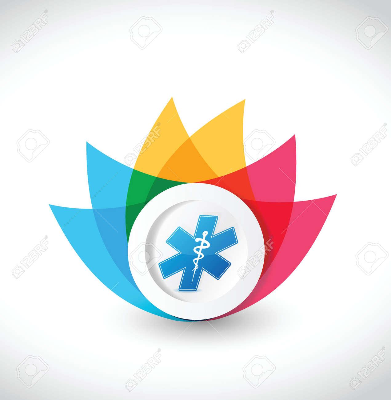 color medical flower illustration design over a white background Stock Vector - 23974409