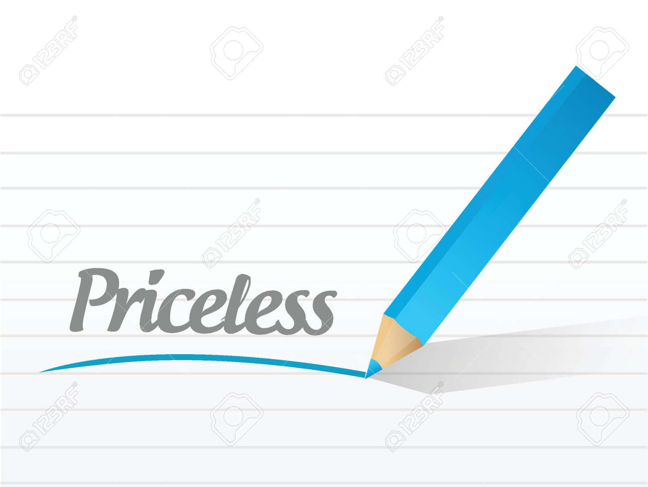 word priceless written on a white piece of paper. illustration design Stock Vector - 23974419