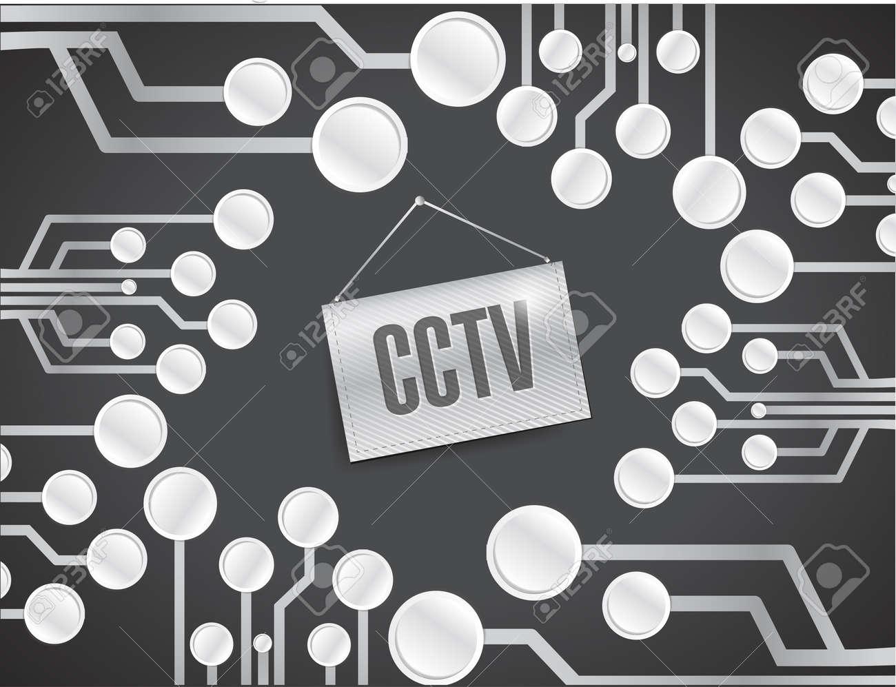 cctv circuit board with sign. illustration design over a black background Stock Illustration - 24181618