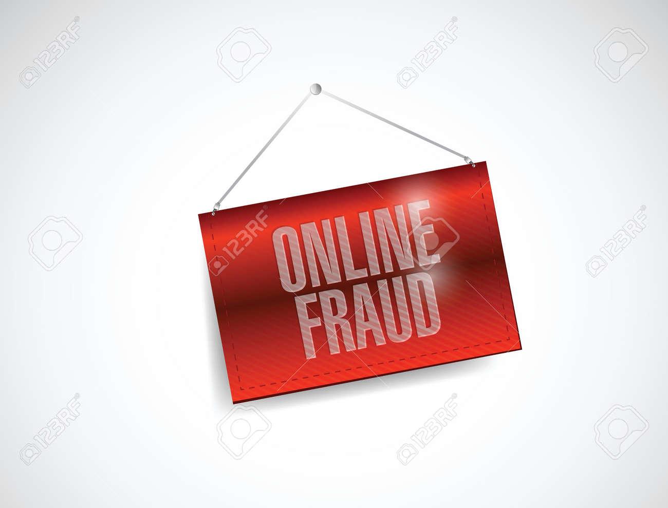 online fraud hanging banner illustration design over a white background Stock Vector - 24654896