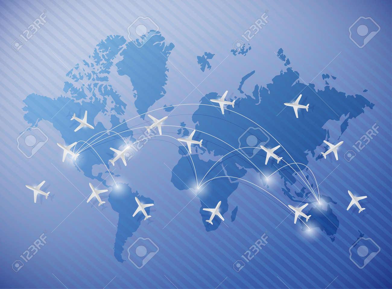 Aviones Volando Sobre Un Mapa Del Mundo De La Ilustración Sobre Un Fondo Azul Fotos Retratos Imágenes Y Fotografía De Archivo Libres De Derecho Image 24655352