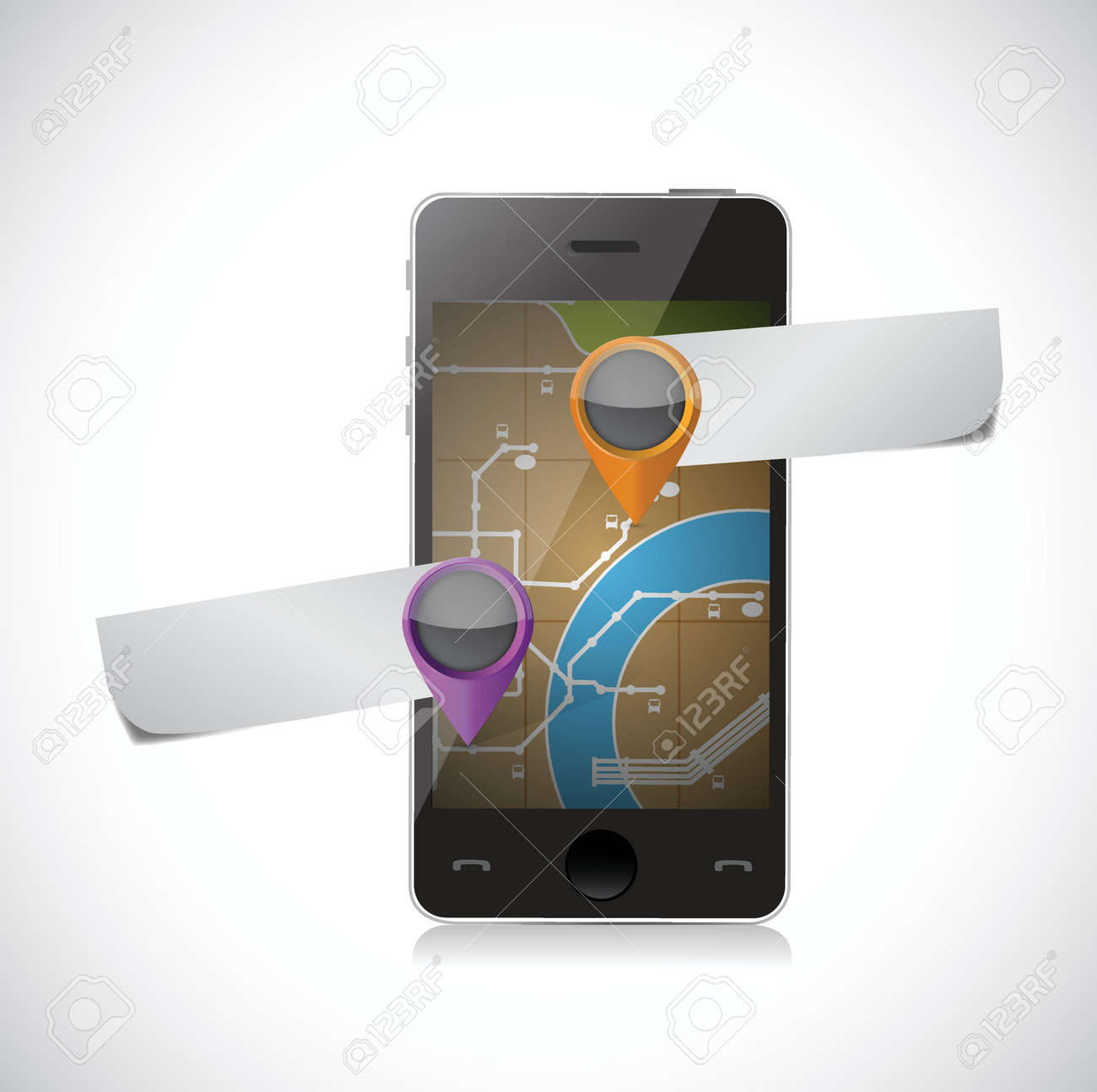 phone gps map and pointer illustration over a white background Stock Vector - 24681053