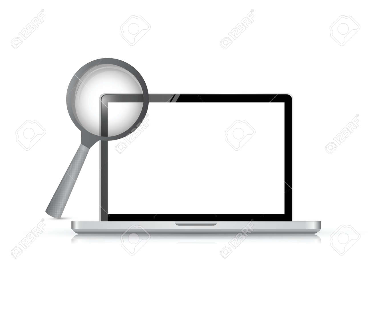 computer laptop under research illustration design over a white background Stock Vector - 24928635