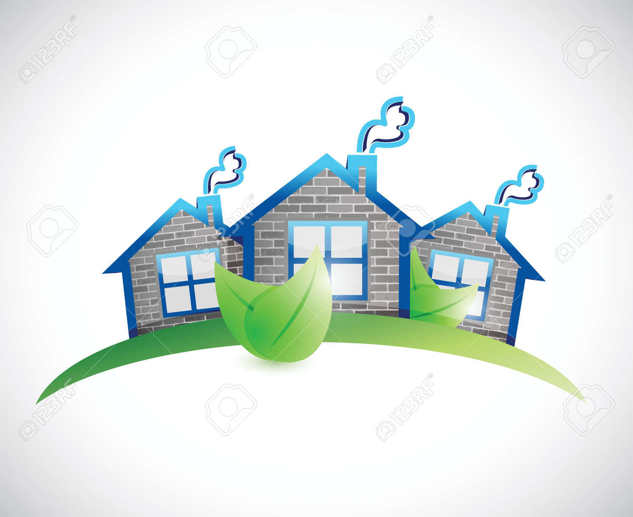 Green Homes Real Estate Symbol Illustration Design Over A White ...