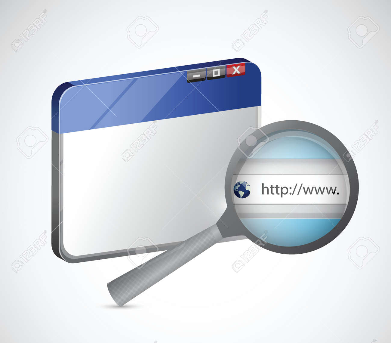 internet browser and magnify search bar illustration design over a white background Stock Vector - 24928851