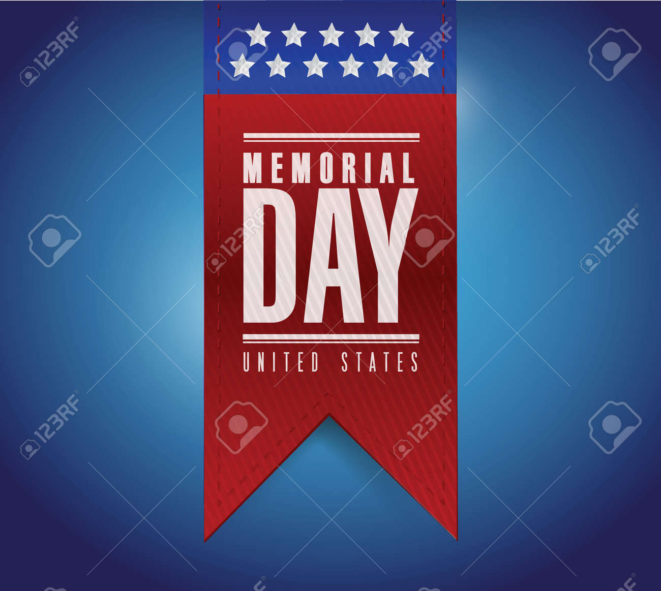 memorial day banner sign illustration design over a blue
