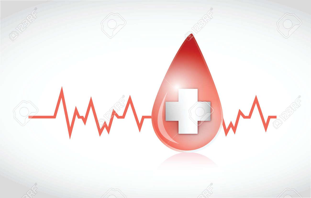 blood drop lifeline illustration design over a white background Stock Vector - 25700741