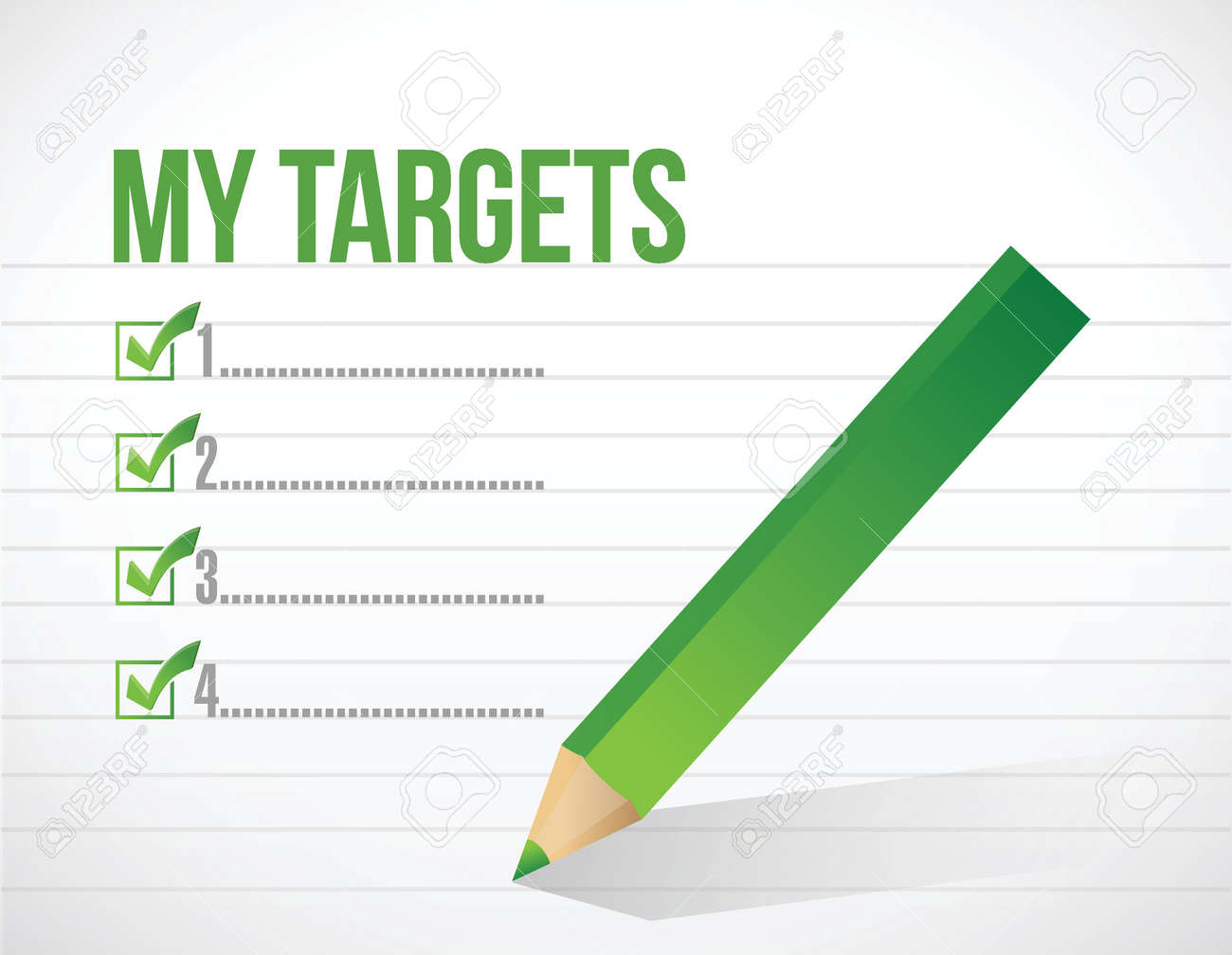 my targets check list illustration design over a white background Stock Vector - 26136334