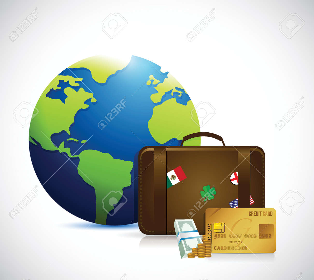 globe, money and travel suitcase illustration design over a white background Stock Vector - 26690042
