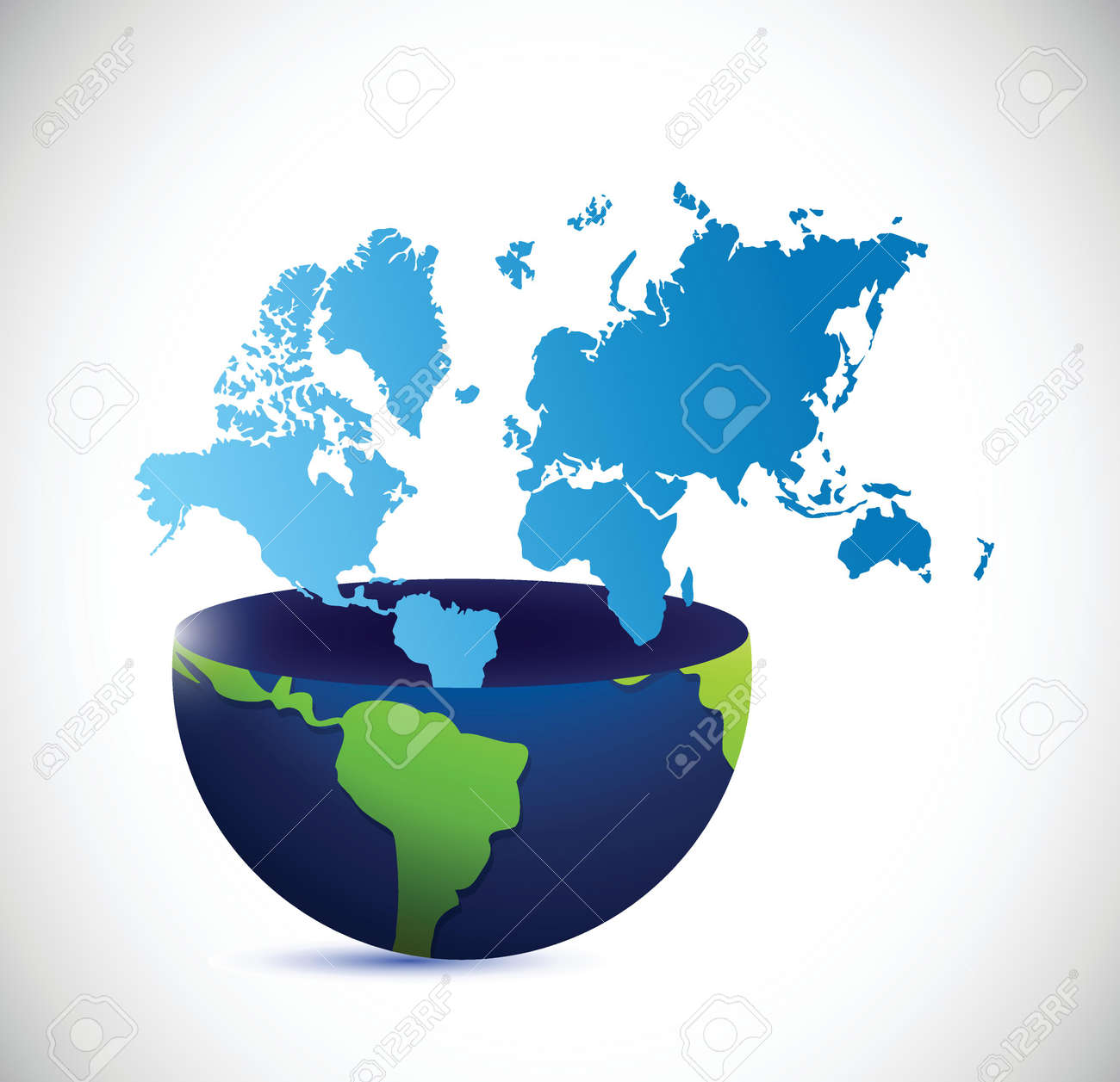 Half globe and world map illustration design over a white background half globe and world map illustration design over a white background stock vector 27287822 gumiabroncs Image collections