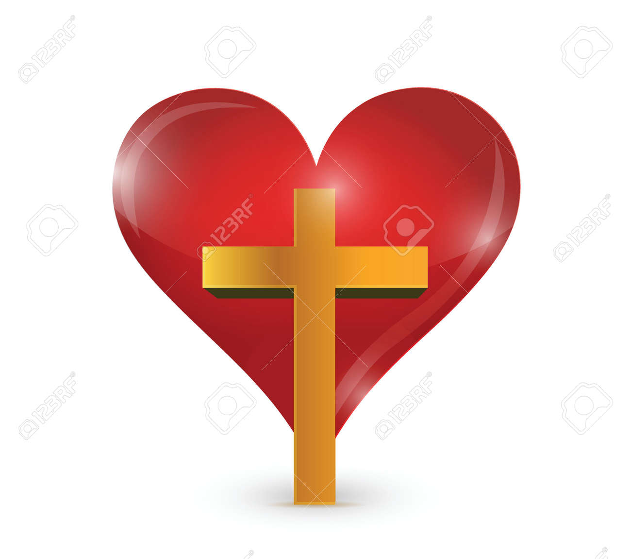 cross and heart illustration design over a white background royalty